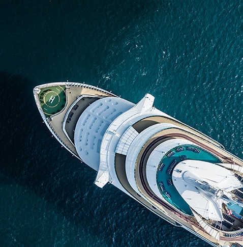 luxury smart yacht from above